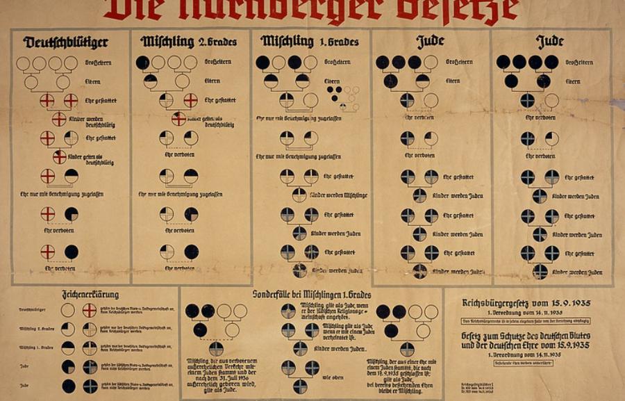 Tableau racial des lois de Nuremberg de 1935. Les « lois de Nuremberg » fournissaient une base pour l'identification raciale. Seules les personnes ayant quatre grands-parents allemands non juifs (soit quatre cercles dans la rangée supérieure, colonne de gauche) étaient de « sang allemand ». (14 novembre 1935). Crédit photo : US Holocaust Memorial Museum