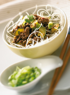 Plat cashere, recette cashere : Vermicelles chinois au boeuf